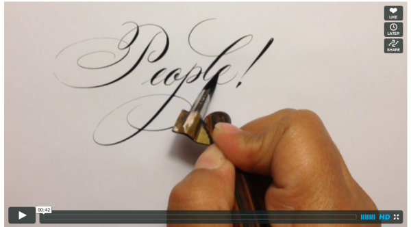 Laura Di Piazza writing Copperplate, calligraphy, script